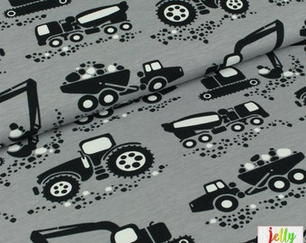 ORGANIC Cotton KNIT Fabric - Machines in Grey by PaaPii Design - UK Seller
