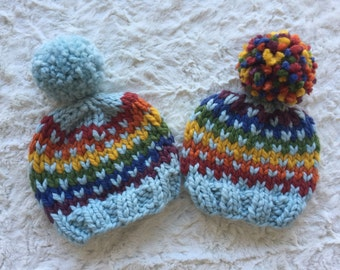 Light Blue Rainbow Baby Beanie // Knit Baby Hat // Rainbow Beanie // Rainbow Pompom Hat