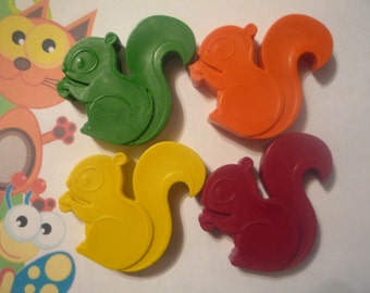 6 squirrel shaped novelty handmade wax crayons