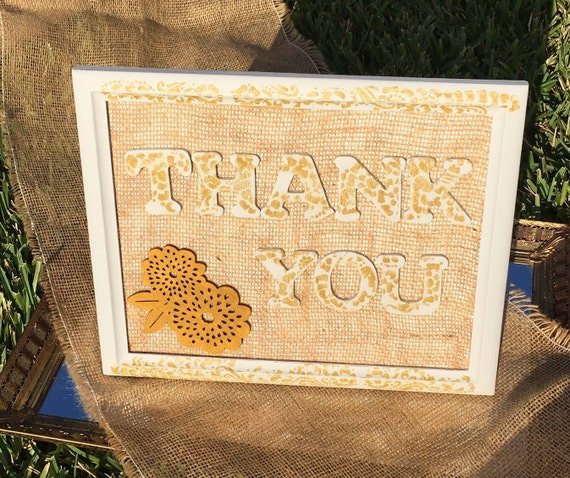 Thank You Sign For Wedding Gift Table : Thank You Sign for Gift Table with Burlap/ Wedding/ Engagement Party ...