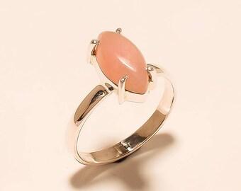 Natural Pink Opal Ring Opal Cabochon Ring Sterling Silver Ring Natural Opal Gemstone Ring 925 Sterling Silver Pink Opal Ring Us 9.3 E-282