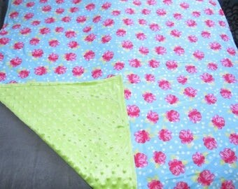 """Roses Flowers Baby Blanket Minky Dot 41"""" x 35"""" Flannel 2 PLY Hand Made Chic"""