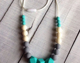 Teal and Grey Teething Necklace