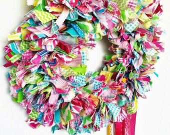 Fabric Wreath, Rag Wreath, Multicolor Wreath, Pink, Green, Yellow, Turquoise, Door Wreath, Indoor Outdoor Wreath, Shabby Chic, Summer Wreath
