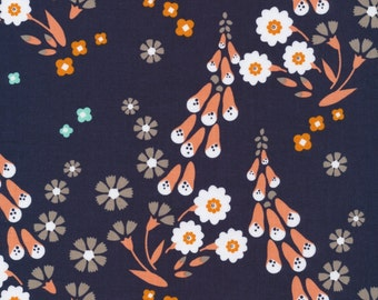 Foxgloves in Navy ~ Foxglove Collection by Aneela Hoey for Cloud 9 Fabric ~ Gotts Certified Organic Fabric ~ Weave & Woven