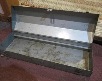 Vintage Metal Toolbox, industrial decor, rustic decor, grey tool box, gray toolbox, garden decor
