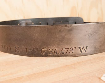 Guitar Strap - Leather with personalized GPS coordinates - Find Me Here Pattern - for Acoustic or Electric Guitars - Third Anniversary Gift