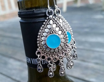 Silver and Turquoise Statement Earrings