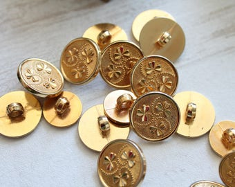 button clover vintage gold, 15 mm, 20 mm, St Patrick or, button brings good luck, Golden haberdashery, 466