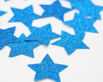 Single Side Blue Glitter Star Die Cuts Confetti Diecuts Scrapbooking Night Sky 4th of July Craft Cards Decoration