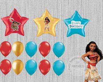 Globos de fiesta de cumpleaños de Disney película Moana, Moana fuentes, decoración  fiesta de Moana, Disney película Moana partido globos