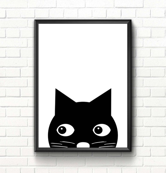 Cute Black Wall Decor : Cute cat print nursery scandinavian art decor