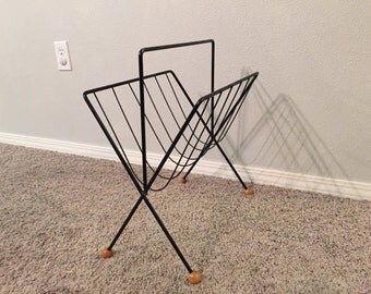 Mid-century Modern Eames Era Magazine Rack Woods Ball Black Metal Wire