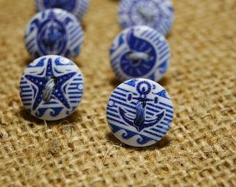 Cute nautical button thumb tacks / push pins - 1 set of 7