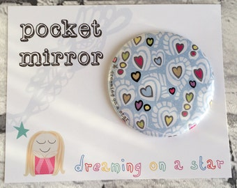 Pocket Mirror, Hand Mirror, Heart Mirror, Hen Party Favors, Makeup Mirror, Cute Mirror, Cute Gifts, Party Favors, Pretty Gift, Birthday gift