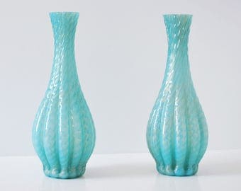 Mid Century 1950s Pair Murano Aqua Art Glass Gold Flecks For Table Lamp Barovier Seguso