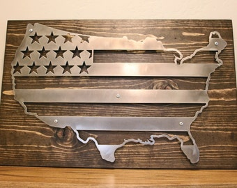 3D Rustic Metal and Wood USA American Flag Sign Wall Art Home Decor