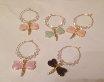 Dragonfly Wine Glass Charms