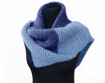 Alpaca knit scarf/ women long scarf/ two colours scarf/ navy blue scarf/ light blue scarf/ winter scarf/ gift for her/ soft knit scarf