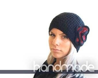 Black Crochet beanie, Crochet Beanie Hat, Women's Hat with red Flower, winter accessory, winter hat