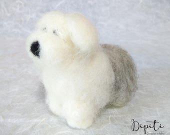 Needle felted Bobtail Dog - old english sheepdog