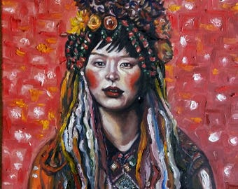 "Original Oil Painting, Tibet Woman Portrait, 1703304, 20""x16"""