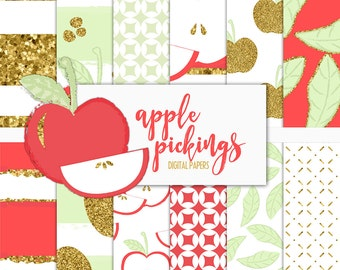 Apple Pickings Digital Paper Pack | Scrapbook Paper | Printable Background | 12 JPG, 300dpi files.