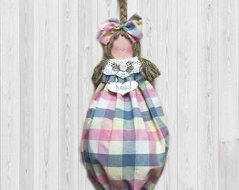 Pink and Blue - Home Decor - Grocery Bag Dispenser - Plastic Bag Holder - Kitchen Gift - Gift for Her - Kitchen Storage - Kitchen Decor