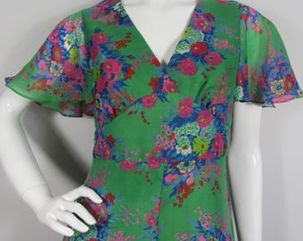 Vintage 1970s Green Floral MAXI Dress, Summer, Bohemian