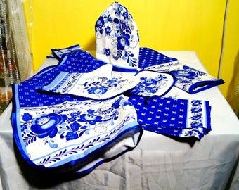 Russian 100% Linen Kitchen Gzhel Set 7-Pcs from Russia NEW souvenir Russia natural cotton