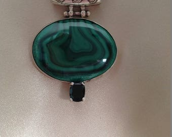 Sterling Silver Malachite pendant with 2 carat Chrome Diopside