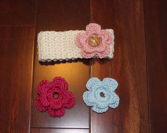 Crochet Baby Headband with Interchangeable Flowers