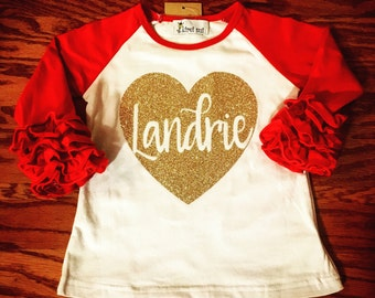 NEXT DAY SHIPPING! Valentine's Day heart monogrammed ruffle raglan for babies, toddlers & little girls. Be Mine personalized sparkle tshirt.