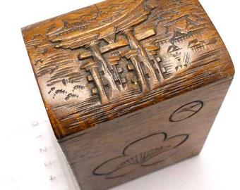 Carved Wood Card Box Vintage