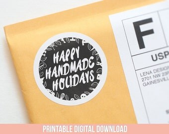 Christmas Labels - Christmas Stickers - Christmas Packaging - Handmade Holiday - Product Packaging - Christmas Mail - Handmade Gift Tags