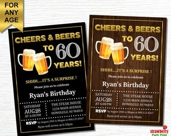 60th Birthday Invitation For Men, Cheers and Beers to 60 years, Surprise 60th Birthday Invitation, Adult Birthday Invitations. A21