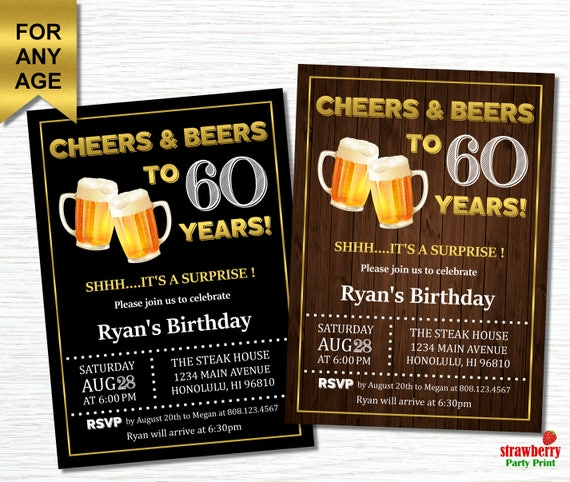 60th birthday invitations for men cheers and beers to 60 like this item stopboris Choice Image