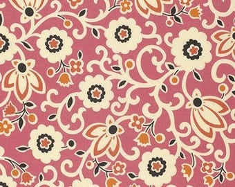 By The HALF YARD- New Bedford by Denyse Schmidt for Free Spirit, #PWDS096 Tapestry Floral - Sorbet, Cream, Orange & Black Flowers on Pink