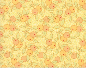 By The HALF YARD - Chestnut Street by Joanna Figueroa  for Moda, #20273-18 Berries - Daisy, Tonal Peach Berries, Green Leaves on Yellow