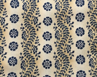 By The HALF YARD - Sara's Stash by Sara Morgan for Blue Hill Fabrics, Pattern #7409-7 Floral Vine Stripe in Navy Blue, Tan and Cream