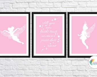 Download - Tinkerbell Printable - Set of 3 Baby Pink Tinkerbell Fairy  Prints - Set of 3