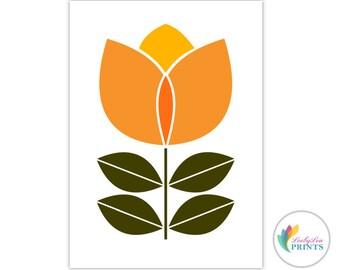 Printable Orange Flower - Scandinavian Flower Print  (orange and yellow) -  Retro Design Printable, Scandi Wall Art, Scandinavian Printable