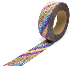 Glitter Rainbow Stripes Washi Tape