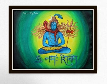 shiv painting, hindu wall art, shiva on canvas, om namah shivay, god meditation, spiritual artwork, yoga gift, modern green art