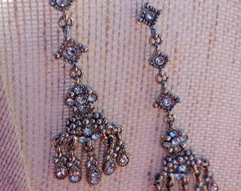 Cubic Zirconia Sterling Silver Chandelier Earrings