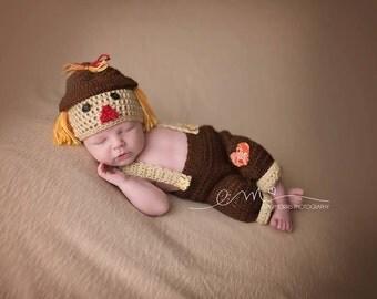 Crochet Newborn Scarecrow outfit, Newborn Fall Outfit, Crochet Baby Scarecrow Newborn Halloween outfit