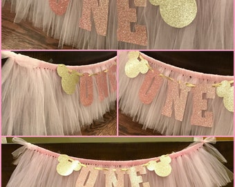 Minnie Mouse Birthday High Chair Tutu/ Pink and Gold High Chair Tutu/ Birthday High Chair Tutu