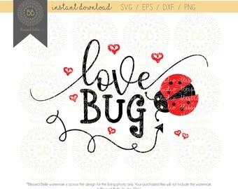 Love Bug SVG, Valentines svg, girl valentine's svg, valentine's day svg, svg eps, dxf, png file, Silhouette, Cricut