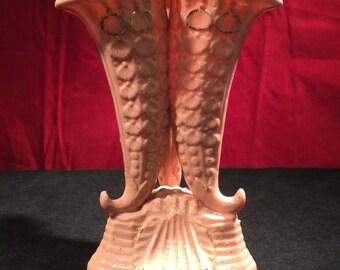English Porcelain Triple Cornucopia Vase - Pink Shell (Early 19th Century)