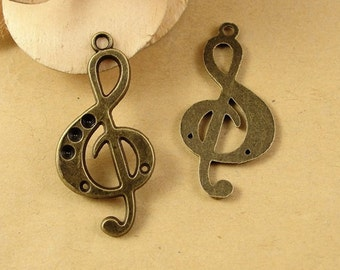 Bulk Lot 50pcs of 36x18mm Musical Note Charm Pendants Wholesale Charms Antique Bronze Antique Silver Jewelry Findings PA1056-A1725